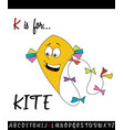 vocabulary worksheet card with cartoon kite vector image vector image