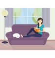 Woman reading a book vector image vector image