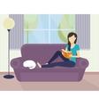Woman reading a book vector image