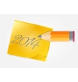 Yellow paper with pencil vector image