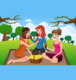 young women having picnic in a park vector image vector image