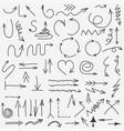 doodle arrows collection hand drawn black arrow vector image