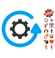 gearwheel rotation direction icon with love bonus vector image