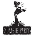halloween lettering with zombie hand and leaf vector image