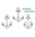 Vintage sketched sea anchors set vector image