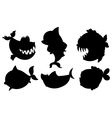 A school of black colored fishes vector image vector image
