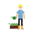 active senior man character with watering can care vector image vector image