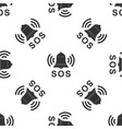 alarm bell and sos lettering icon seamless pattern vector image vector image