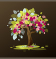 an unusual tree with multi-colored leaves is vector image