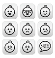 Baby boy faces avatar buttons set vector image vector image