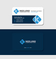 business card with the letter k blue color vector image vector image