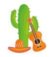 cactus plant with mexican hat and guitar vector image vector image