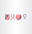 cancer ribbon icon set logo vector image vector image