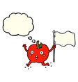 cartoon funny apple with flag with thought bubble vector image vector image