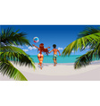 cartoon man and woman happily running on tropical vector image vector image