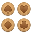 Casino wooden round icon card suits vector image vector image