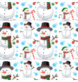 christmas snowman seamless pattern vector image