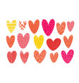 collection doodle pink hearts vector image