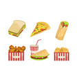 collection fast food takeaway street food vector image vector image