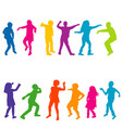 colorful silhouettes of children dancing vector image vector image