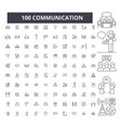 communication editable line icons 100 set vector image vector image