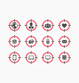composite icons with audience world men etc vector image
