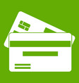 credit card icon green vector image vector image