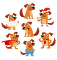 cute brown funny dog puppy character vector image vector image