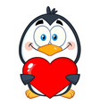 cute penguin character holding a valentine heart vector image vector image