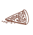 Hand Drawn Pizza Slice vector image