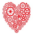 Heart from gears vector image vector image