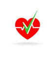 Heart is OK logo Heart silhouette with graph line vector image vector image