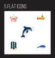 icon flat marine set of crab whale dolphin and vector image