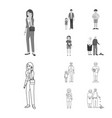 isolated object of character and avatar sign set vector image