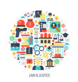 legal law and justice flat infographics icons in vector image