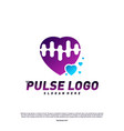 love heart pulse logo design concept people beat vector image