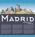 madrid spain city skyline with gray buildings vector image vector image