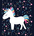 magic beautiful cartoon the unicorn vector image