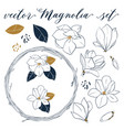 magnolia set hand drawn botanical elements vector image vector image