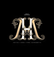 mh or hm monogram initial letter and graphic name vector image vector image
