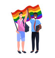 mix race couple gays holding lgbt rainbow flag vector image vector image
