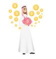 muslim businessman holding a piggy bank vector image vector image