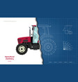 outline blueprint tractor side view o vector image vector image