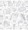 pattern from contours kitchen items vector image vector image