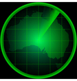 Radar screen with a silhouette of Australia vector image