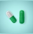 realistic capsule white background medicine vector image