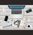 realistic workplace concept top view vector image vector image