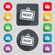 Rent icon sign A set of 12 colored buttons and a vector image vector image