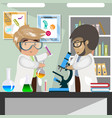 scientists in medical science laboratory vector image vector image