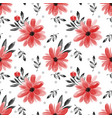 seamless pattern with cute flower on white vector image vector image